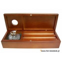 Drewniane Pudełko na Pióra z Kałamarzem - Box 6A