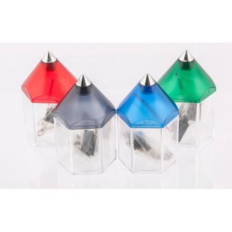 Plastikowe pudełko na spinacze + 3 klipsy. 4 kolory.