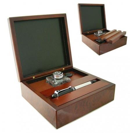 Drewniane Pudełko na Pióra z Kałamarzem, 0770FBR